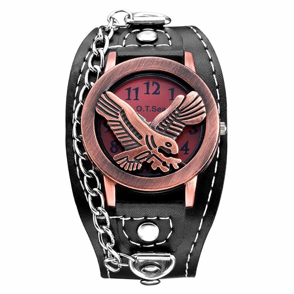 גברים רטרו עתיק שעון פיסול נשר דפוס חיים עמיד למים קוורץ שעונים גברים פשוט מינורי שעון יד montre homme 2020