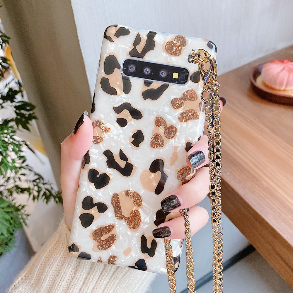 Leopard Cover For Samsung Galaxy S20+ S20 S8 S9 S10 Note10 Plus Case Shell With Strap Cord Metal Chain Necklace Rope Cover