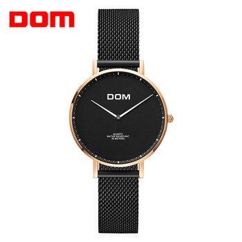 new Women watches DOM Brand Luxury New Casual waterproof Leather Dress quartz-Watch Mesh strap clock Relogio Faminino
