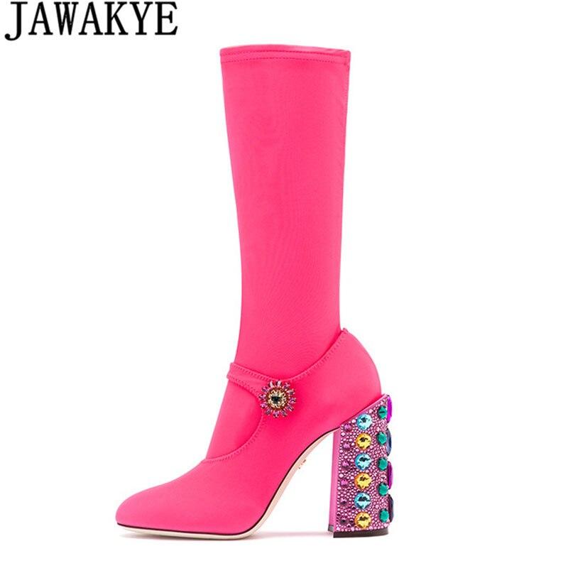 Осенние женские ботинки до середины икры, украшенные стразами, квадратный массивный высокий каблук, с блестками, эластичный тянущийся Носо