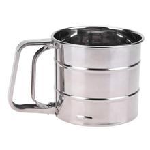 Mezclador de harinas de mano de acero inoxidable licuadora de mano de malla taza tamizadora de glaseado de azúcar herramienta para hornear utensilios de cocina prensados a mano herramienta para hornear azúcar