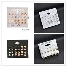 Fashion Korean Explosions Set Earrings 12 pairs of Square Imitation Zircon Hearts Studded