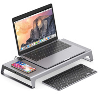 Aluminum Monitor Stand Docking Station with USB C Hub Support 4K HDMI VGA TF Card Wireless Charge DQ Drop