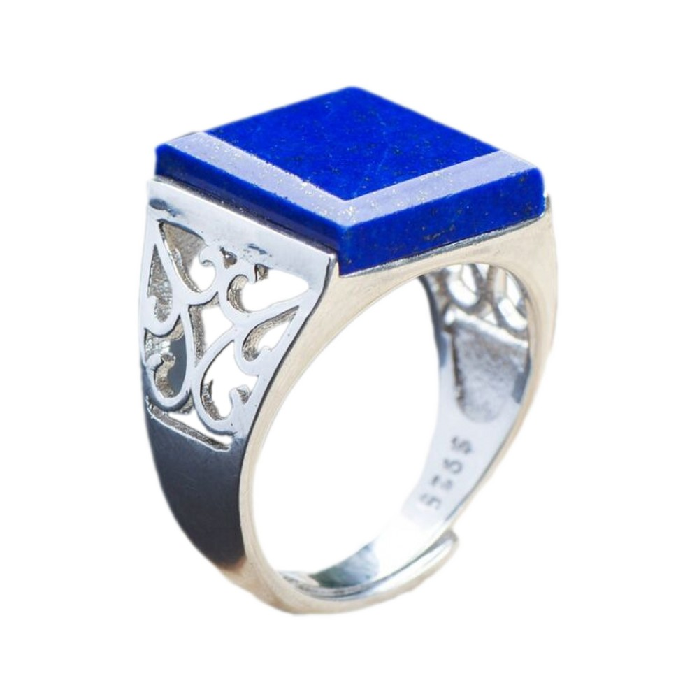 2020 Genuine lapis lazuli square ring for men and women new s925 pure silver inlaid natural lapis lazuli classic men ring