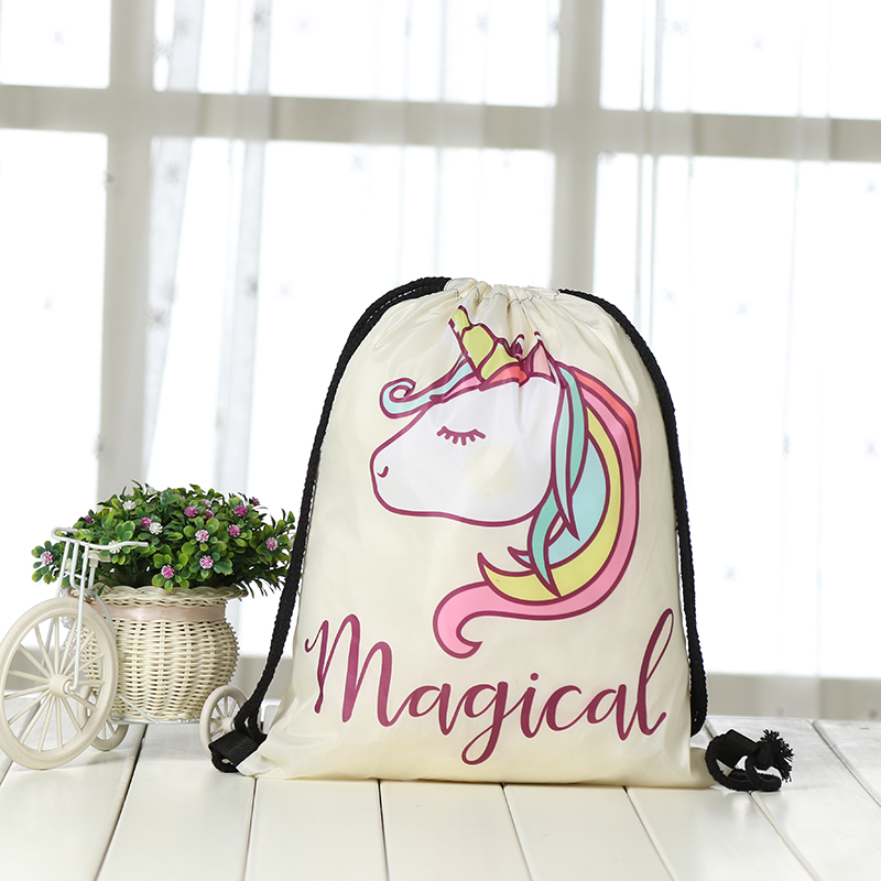 Drawstring Backpack Fashion Women 3D Printing Travel Knapsack Men Casual Bags Unisex Women's Shoulder Drawstring Unicorn Bag New