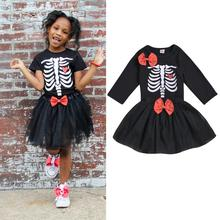 2019 New Halloween Clothes Toddler Baby Girls Skull Print Long Sleeve Tops+Bowknot Skirt Set