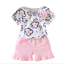 Summer Children's Clothing Cute Baby Girls Casual Printing Shirts Shorts 2Pcs/Sets Toddler Fashion Cotton Kids Clothes Suits