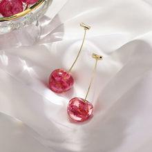 Boucles d'oreilles acryliques en forme de cerise pour femme, bijou long, chic et géométrique, nouveauté 2020