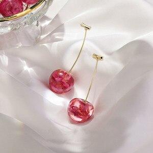 Новое поступление 2020, модные геометрические Висячие серьги для женщин, милые вишневые серьги-подвески, длинные серьги