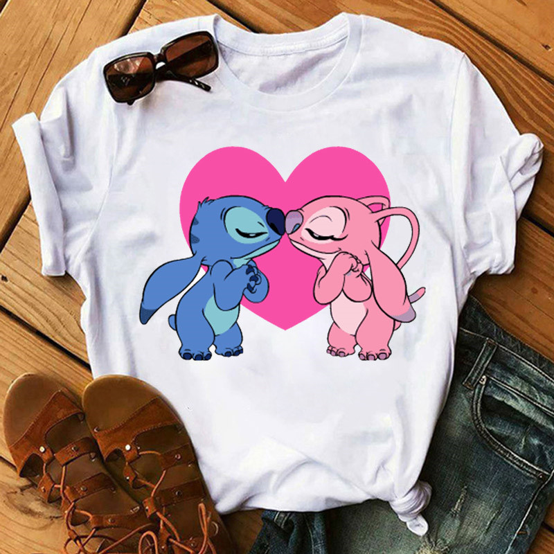 Lilo Stitch Harajuku Kawaii Women T Shirts Fashion T-Shirt Adventure Lovely Cartoon Female Printed Casual Tops Tee