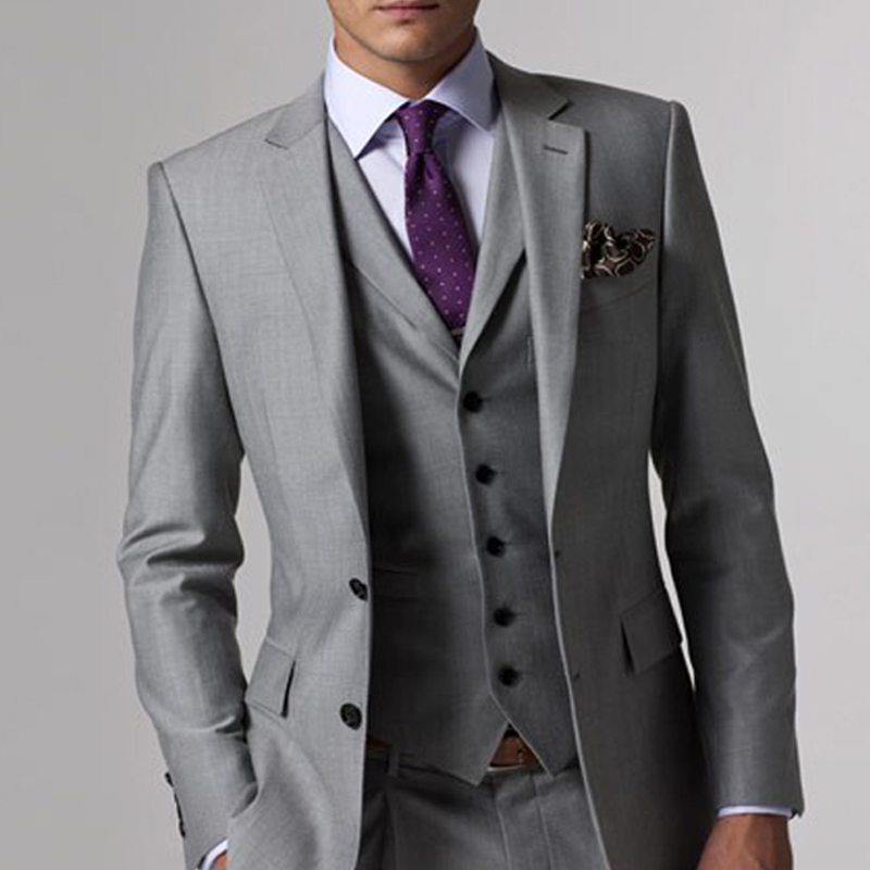 Gray Business Mens Suits with Notched Lapel 3 Piece Formal Wedding Groomsmen Tuxedo for Prom Male Fashion Set Jacket Pants Vest 5