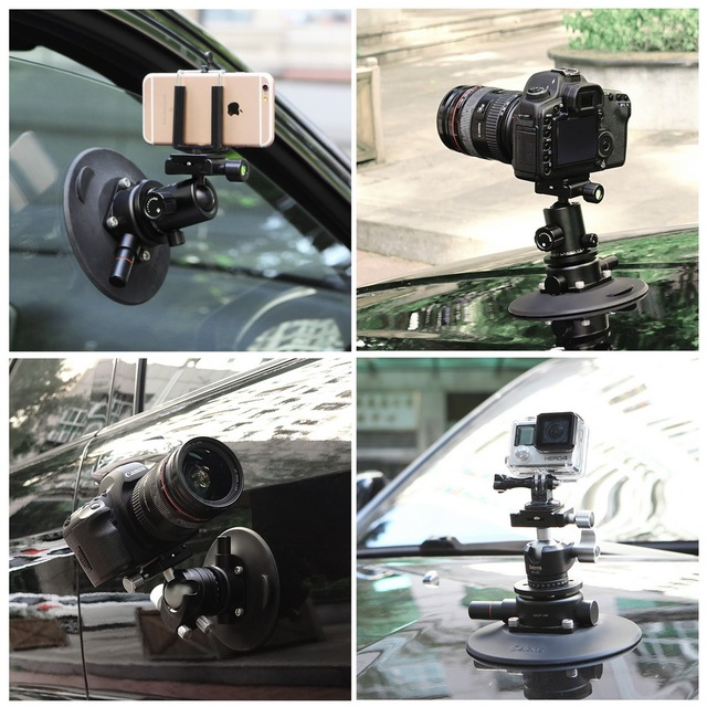 Selens 5.9 inç güç kavrama vakum vantuz kamera yatağı sistemi DSLR kamera Video akıllı telefon Gopro