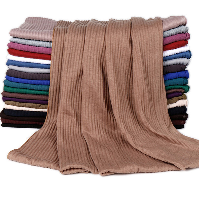 20 Colors Plain Solid Wrinkle Maxi Jersey Hijab Shawl Wrap Elastic Foulards Sjaal Arab Snood Islamic Muslim Headband 180*85Cm