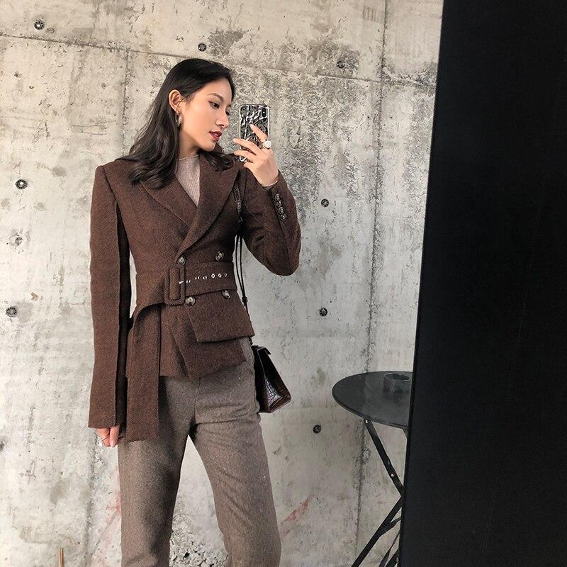 Women Brown Jacket Blazers 2019 Spring Waist Belt Ribbon Herringbone Woolen Suit Jacket Gothic Office Lady Sashes