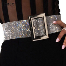 Fashion Rhinestone Womens Belt Shiny Diamond Crystal Waistband Female Gold Silver Waist Party  Luxury Band