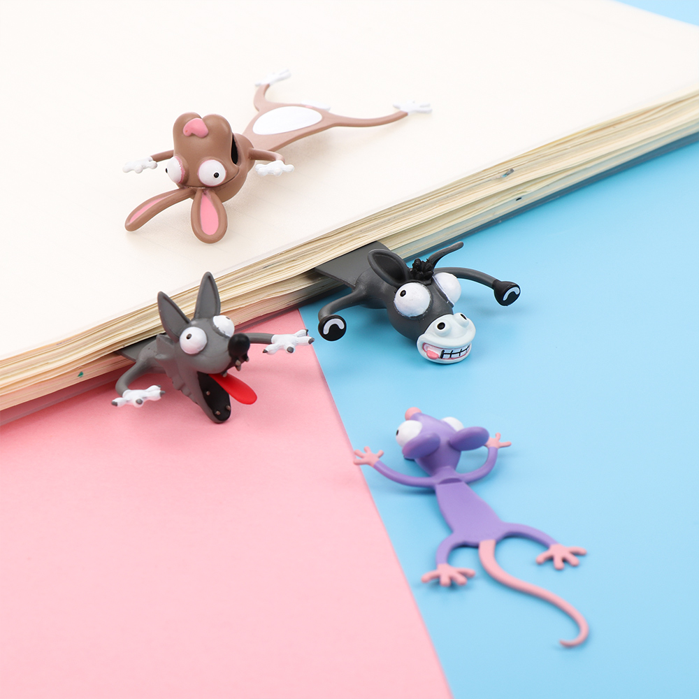 3D Stereo Cartoon Bookmarks Animal Marker Original Cute Cat PVC Material Funny Student School Stationery Children Gift Bookmarks