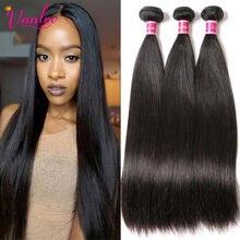 VANLOV − Extensions brésiliennes lisses, 100% naturelle, cheveux de qualité remy, noire, lot de 1, 3 ou 4 bandes, pour les femmes