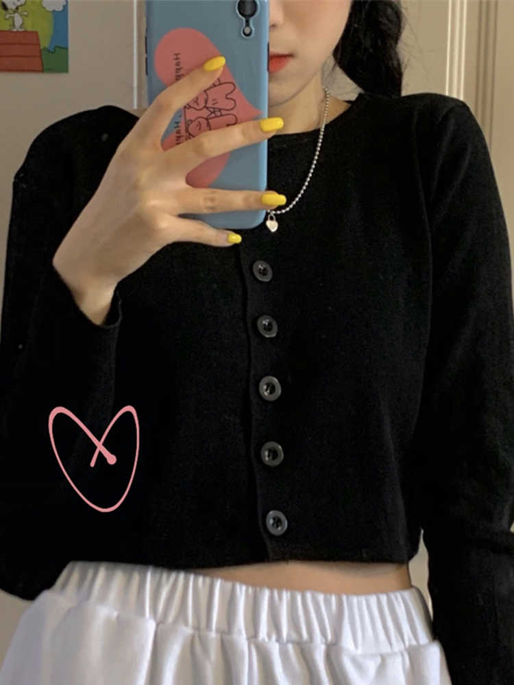 Women Streetwear Knitted Cardigan Button Up Korean Cute Sweaters Cropped Cardigan Knitwear Kawaii Crop Sweater Knitting Top