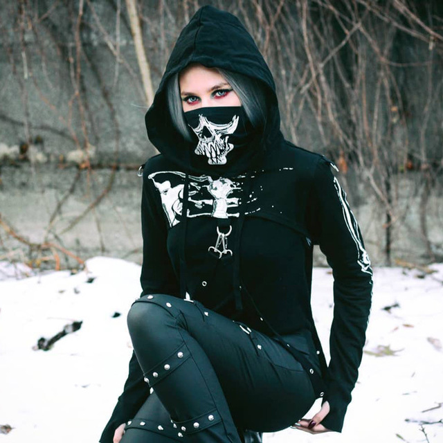 Goth Foncé imprimé crâne squelette sweats capuches manche longue t-shirt turtlenek punk style hanche femmes chaîne haut court cool t-shirts streetwear