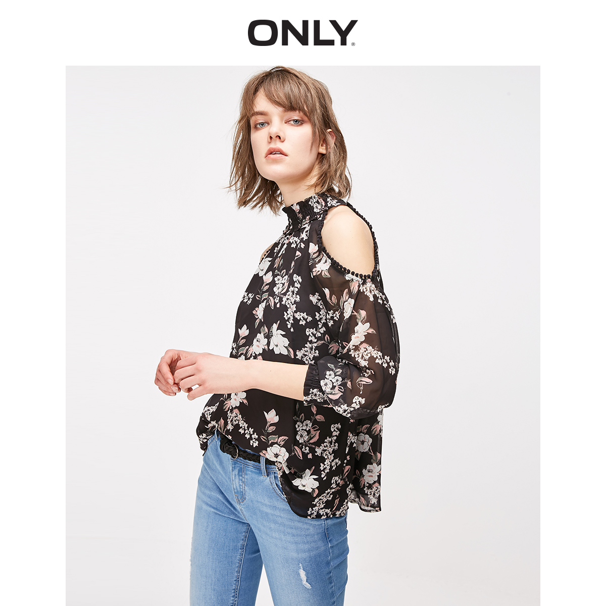 ONLY Women's Loose Fit Pom-pom Floral Off-the-shoulder Long-sleeved Chiffon Shirt   119151512