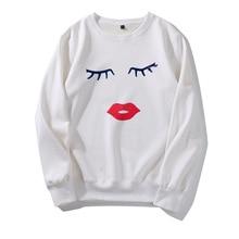 Streetwear 2019 Moletom Sudadera Mujer Eye Red Lip Print Hoodies Women Sweatshirt Round Neck Long Sleeve Loose Hoodie father christmas costume lip print long sleeve hoodie