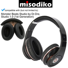 Misodiko 교체 쿠션 이어 패드 및 헤드 밴드, monster beats studio 용 dr. dre, 헤드폰 수리 부품 earpads headband