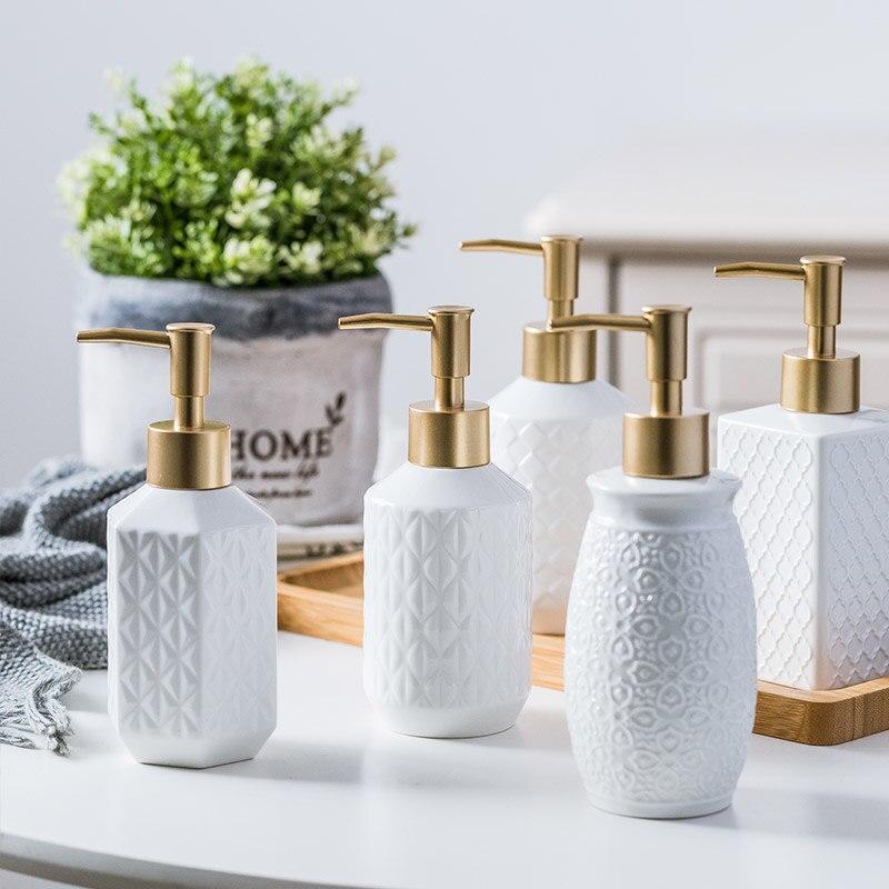 280ml,350ml Bathroom Accessories Ceramic Lotion Bottle Liquid Soap Dispenser For Kitchen Bathroom Home Decoration