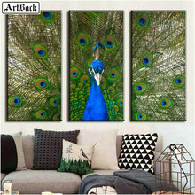 Triptych animal 5d diamond painting peacock full square mosaic art 3d sticker decoration