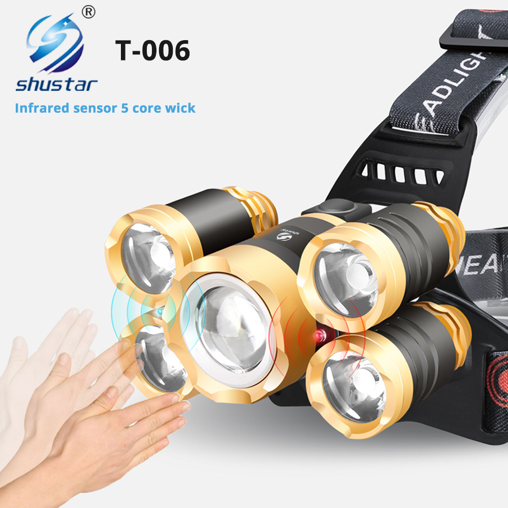 5 Core LED Headlamp With IR Sensor Waterproof Fishing Headlight Zoomable Camping Light Powered By 18650 Battery