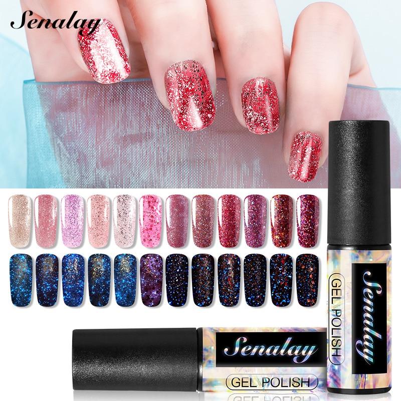 Senalay Nail Polish Need UV LED Lamp Base Top Coat Gel Nail Polish For Nail Art Manicure Gel Set Extension Nail Varnishes