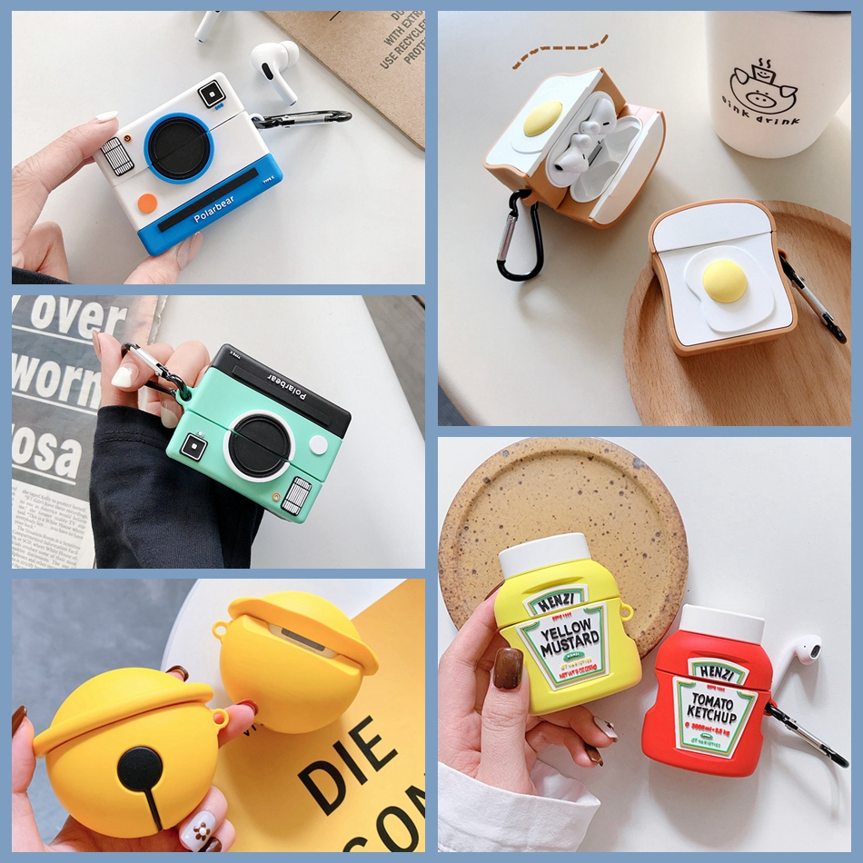 For Huawei Freebuds 3 Case 3D Cute Toast Camera Ketchup Earphone Cover For Huawei FreeBuds 3 Pro Free Buds 3 Kawaii Soft Case