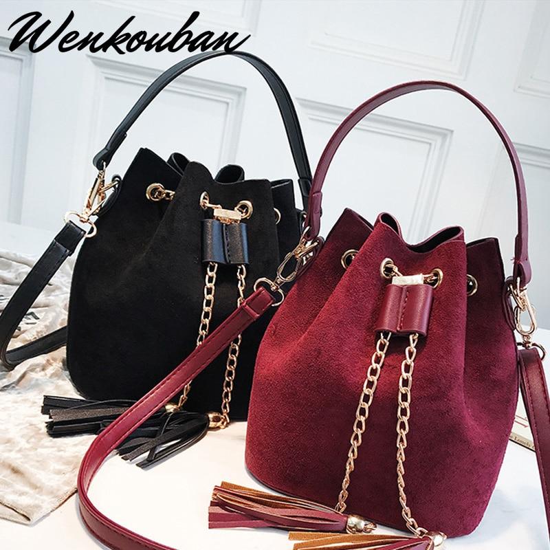 Mini Crossbody Handbags Tassel Suede Bucket Bag Organizer Small Bag PU Leather Womens Shoulder Messenger Bags Torebki Damskie