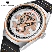 PAGANI DESIGN Mens Watches Classic 3D Skull Punk Style Mechanical Waterproof Leather Brand Luxury Automatic Watch Clock