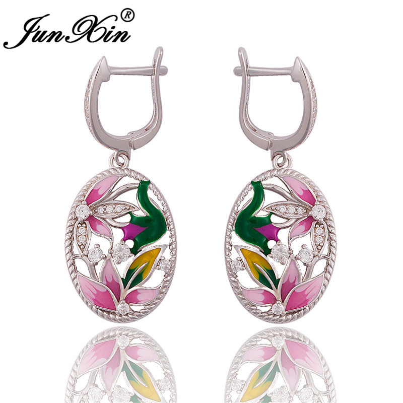 Ladies Charm Crystal Big Flower Earrings Silver Color Enamel Oval Hoop Earrings For Women Engagement Wedding Ear Jewelry Cz