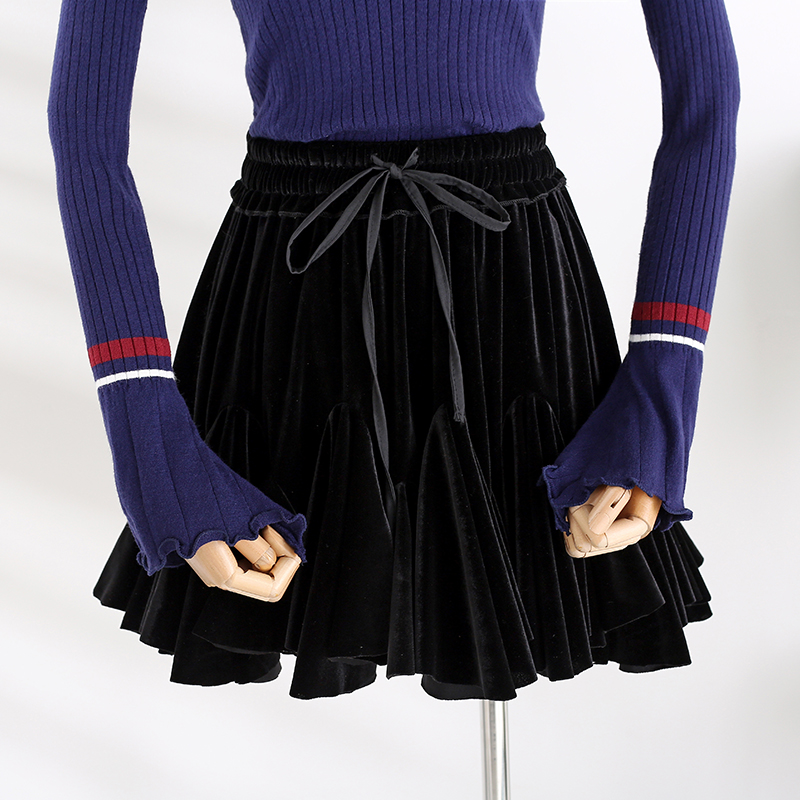 Ladies Gold Velvet Skirts Womens High Waist A Line Mini Skirt 2019 Mini Sexy Skirts Female Spliced Woman Pleated School Skirt