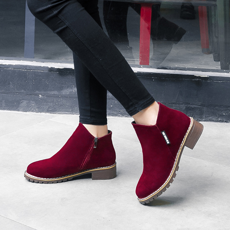 Guige Woman 2019 Ankle Boots V Shape Pointed Toe Boots Low Heels Female Fashion Flock Autumn