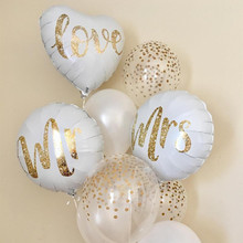 18inch Round White Gold Glitter Print Mr&Mrs LOVE foil Balloons bride to be marriage Wedding Valentine's Day Air Globos Supplies
