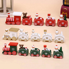 Wooden Christmas Train Toys Santa Snowman Bear Kids New Year Gift Little Train Christmas Decoration for Home Natale 2020 4 section little train christmas ornaments