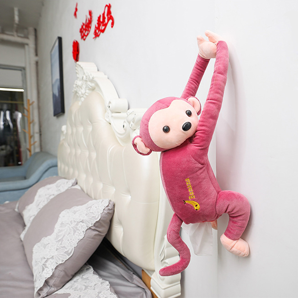 Креативный мультфильм обезьяна Вынимаемые салфетки коробки портативный домашний офис Авто Подвесная коробка из ткани покрытие полотенце Организация держателей