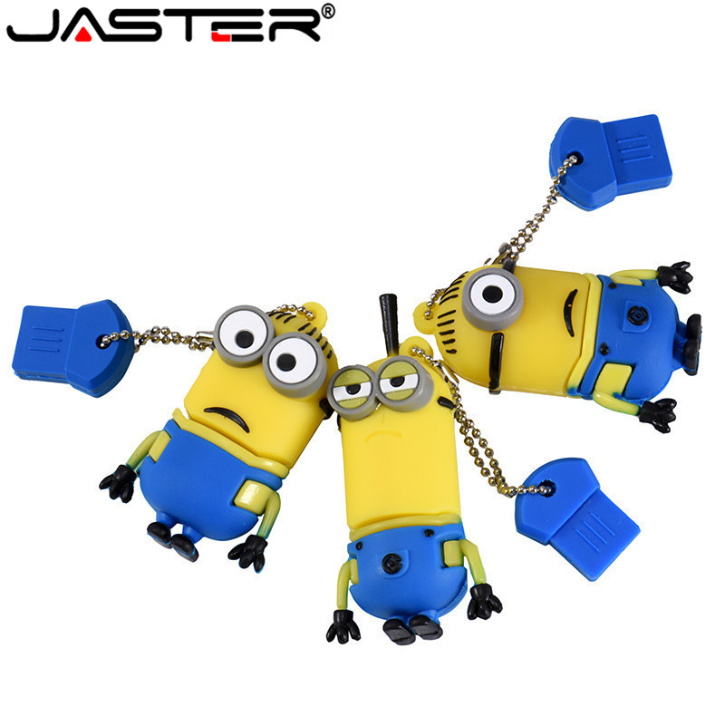 JASTER Funny Mini Usb Flash Drive Cute Yellow People 4GB 8GB 16GB 32GB 64GB 128GB Pen Drive Memory Flash Drive Exempt Postage