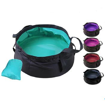 Wielofunkcyjne 8 5l składane przenośne wiadra wodne wiadro do mycia basenu Nylon Outdoor Sports Hiking Camping sprzęt podróżny tanie i dobre opinie CN (pochodzenie) Outdoor travel Handheld Basket