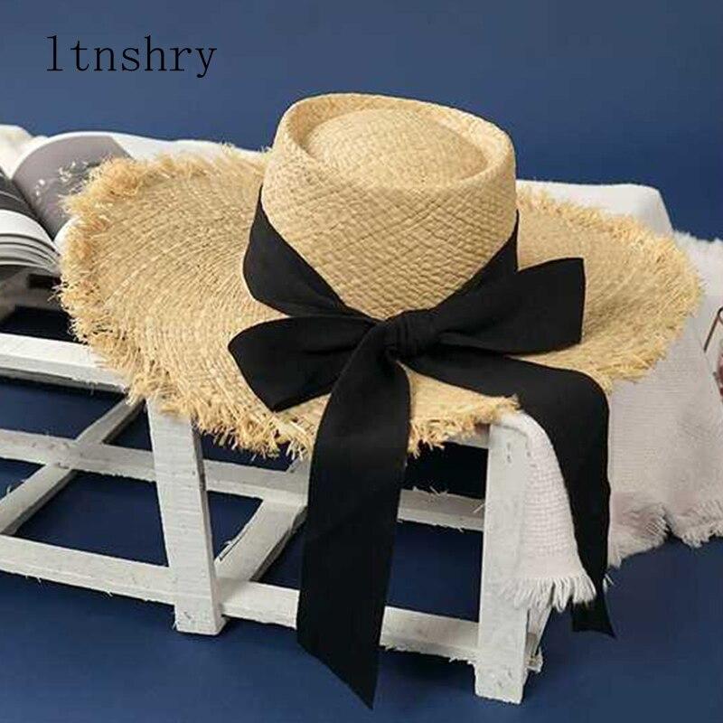 Neue Sommer Strand Bast Schwarz Weiß Band Hut Frauen Dame Bogen Bast Hut Temperament Flache Stroh Hüte frauen Meer strand Hut