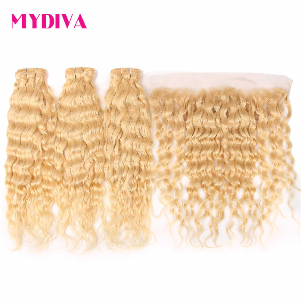 613 Bundles With Frontal Human Hair Bundles With Closure Water Wave Brazilian Hair Weave Bundles With Frontal Blonde Remy Hair