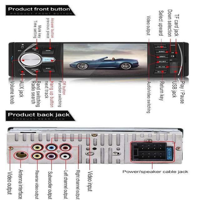 1 DIN samochodowy odtwarzacz multimedialny Radio samochodowe odtwarzacz MP3 Bluetooth wideo stereofoniczne samochód cyfrowy odtwarzacz multimedialny 1Din kamera tylna