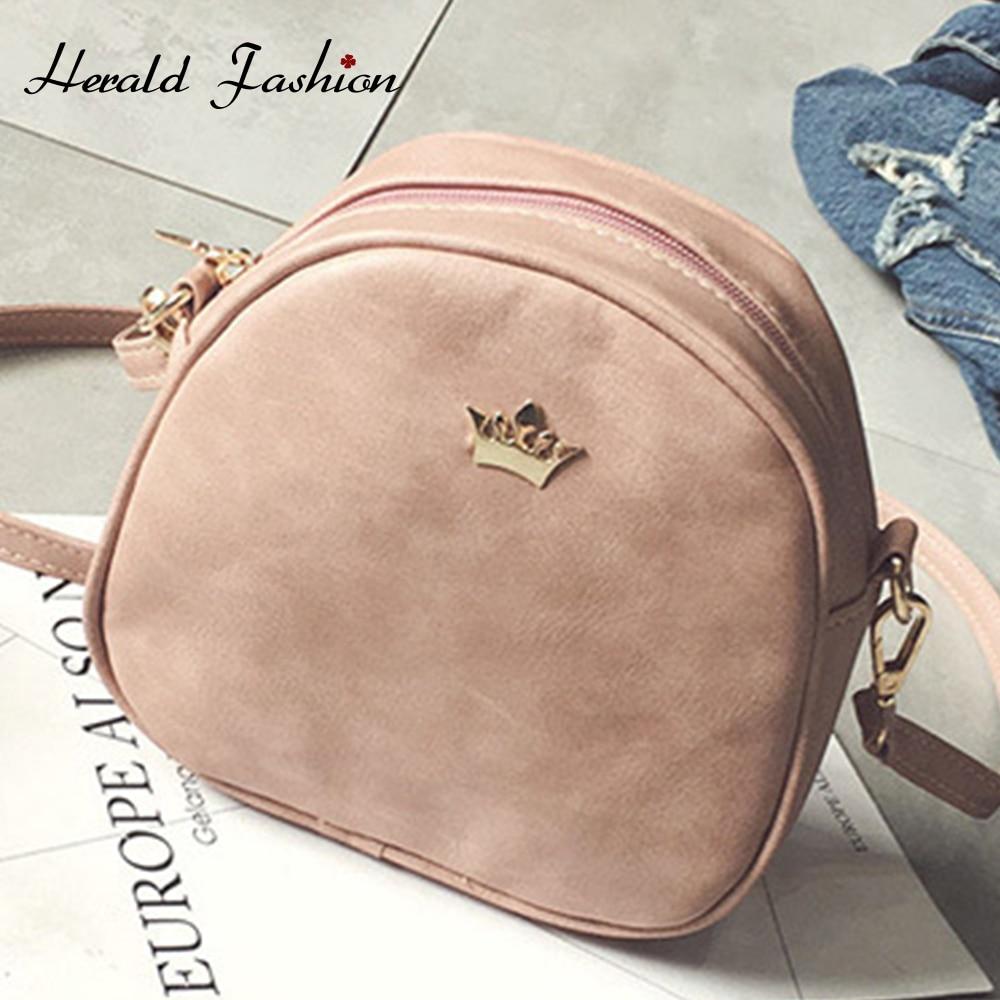 Herald Fashion Crown PU Leather Bags Women Small Solid Casual Crossbody Messenger Bag Handbag Female Small Shell Shoulder Bag