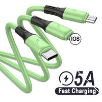 3 in 1 USB Datenkabel 5A Aufzurüsten für Huawei Micro USB Typ C Flüssigkeit Silikon USB Ladegerät Lade Kabel für iPhone 12 11