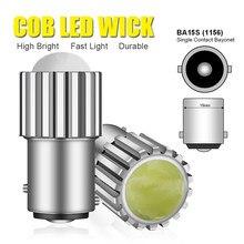 2x cob super brilhante p21w conduziu a luz do carro lente focalizada de alumínio 1156 auto reverso lâmpada luz de freio durável ba15s branco