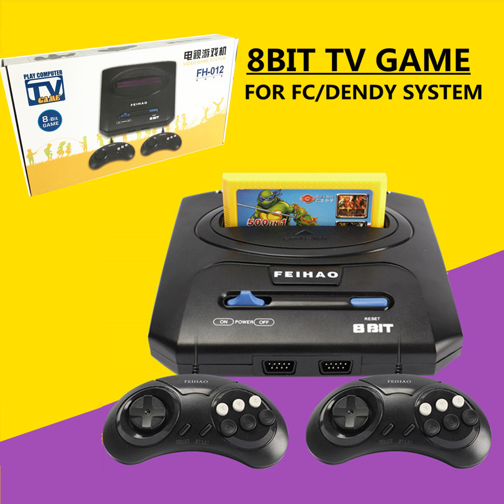 Retro TV Video Game Console For 8bit FC  Dendy Games with Two Gamepads FEI HAO FC Compact II PAL  support yellow game cartridge