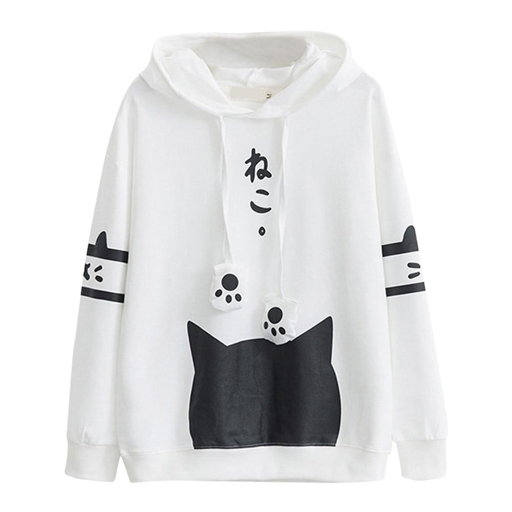 Sudaderas mujer 2019 Casual manga larga Kitty gato estampado bolsillo fina Sudadera con capucha Top japonés letra Japón estilo sudadera caliente # YL5