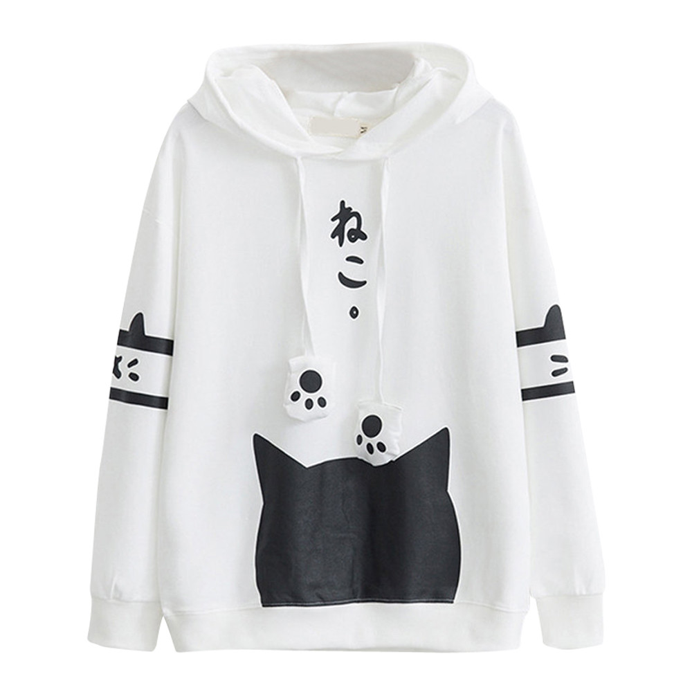 Sweatshirts Women 2019 Casual Long Sleeve Kitty Cat Print Pocket Thin Hoodie Top Japanese Letter Japan Style Hoodie Hot #YL5